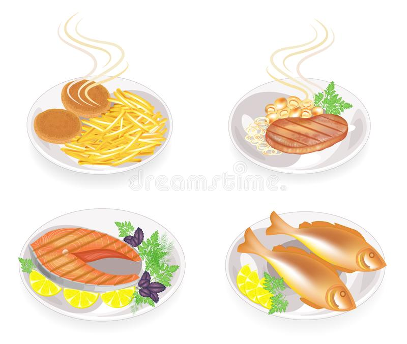 ansammlung Auf einer Platte von gebratenen Koteletts, Steak, Fisch, Fleisch Garnierungskartoffeln, -pilze, -zitrone, -GRÜNS, -pet vektor abbildung