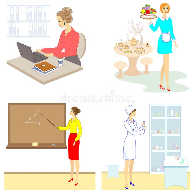ansammlung Berufe für eine Dame Lehrerin, Krankenschwester, Sekretär, Kellnerin Gl?nzendes und glattes Schild und Taste mit den b stock abbildung