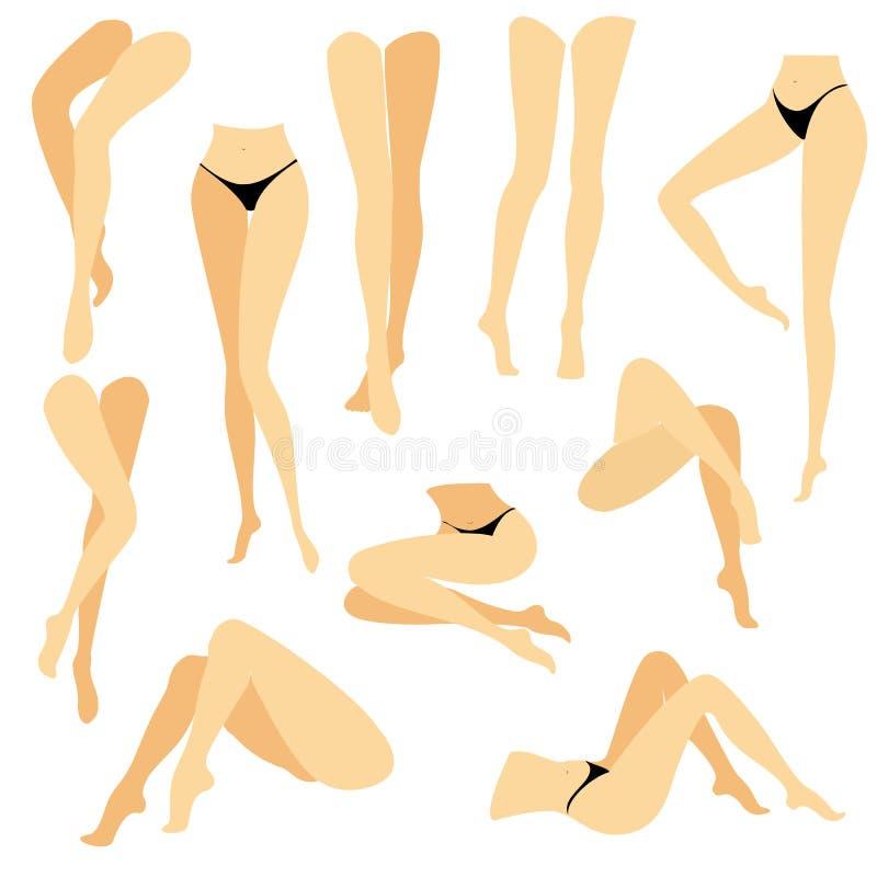 ansammlung Bild mit Schattenbildern von schlanken sch?nen weiblichen F??en Verschiedene Lagen von Beinen, wenn das M?dchen steht, lizenzfreie abbildung