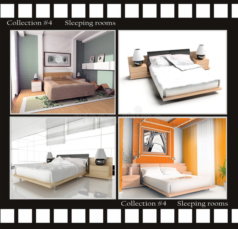 Ansammlung Bilder der schlafenden Räume lizenzfreie abbildung