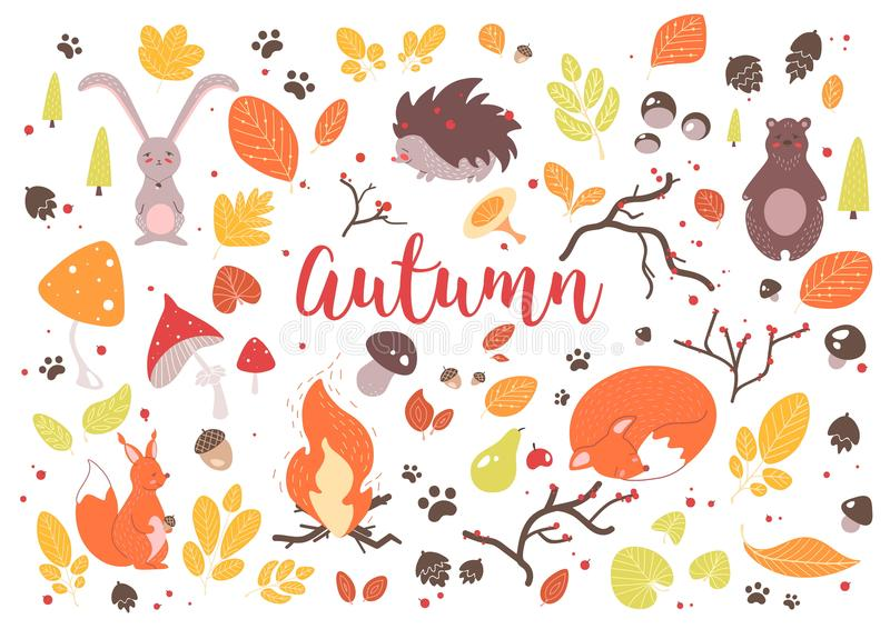 Ansammlung bunte Herbstblätter stock abbildung