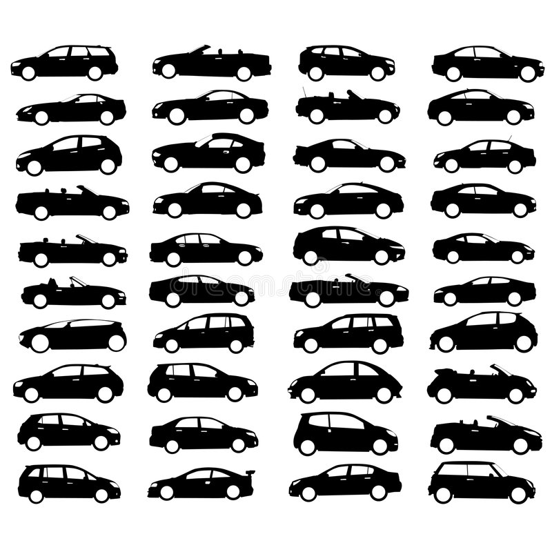 Ansammlung des Auto- und Radvektors vektor abbildung