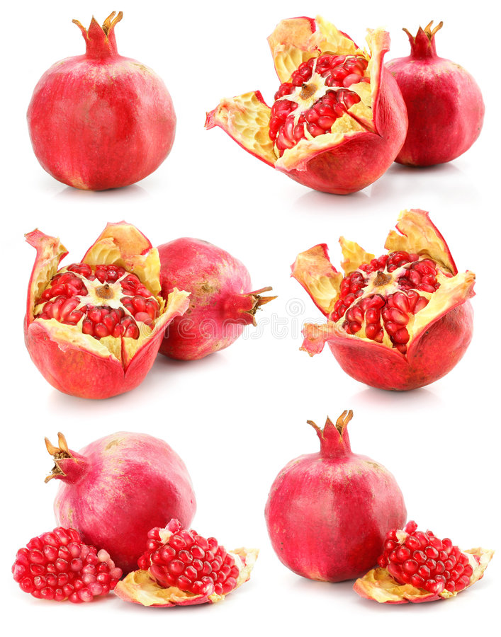 Ansammlung des roten Granatapfels trägt gesunde Nahrung Früchte stockbilder