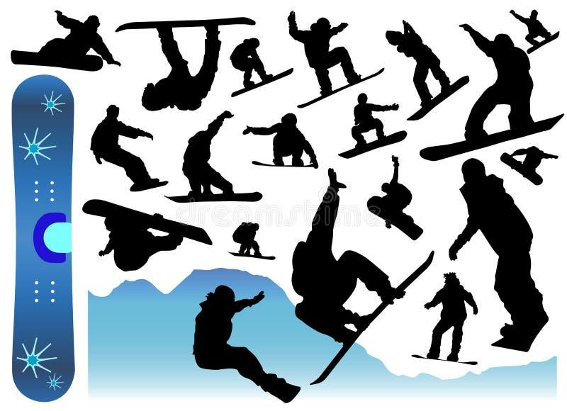 Ansammlung des Snowboardvektors vektor abbildung