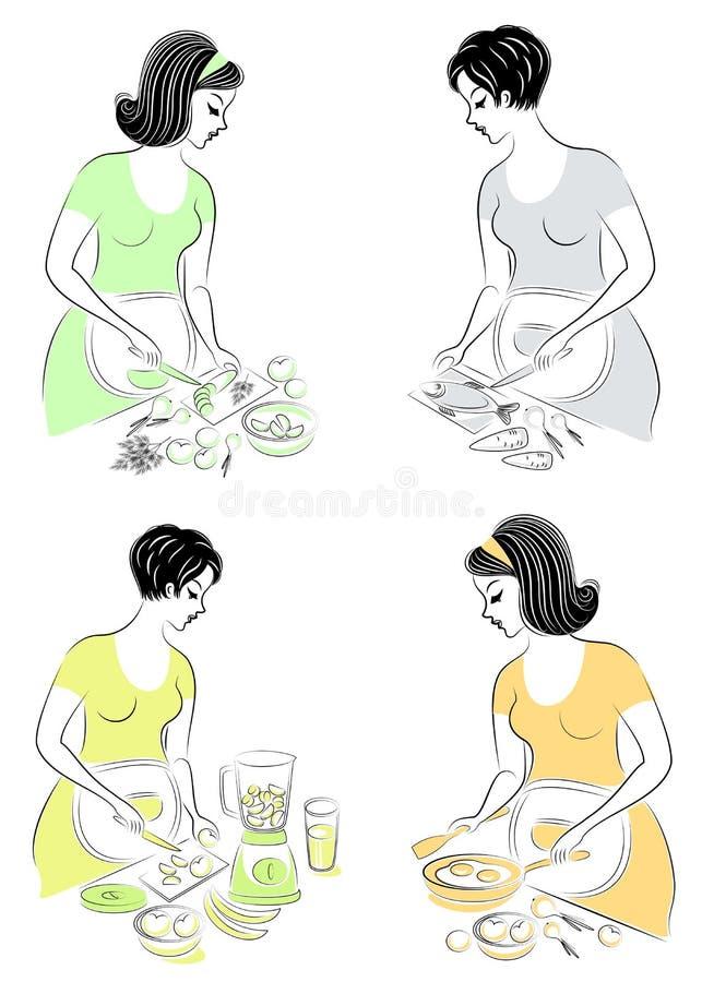 ansammlung E Das Mädchen bereitet Nahrungsmittelfische, Salat, Gemüse, Früchte, Saft, Eier vor Die Frau stock abbildung