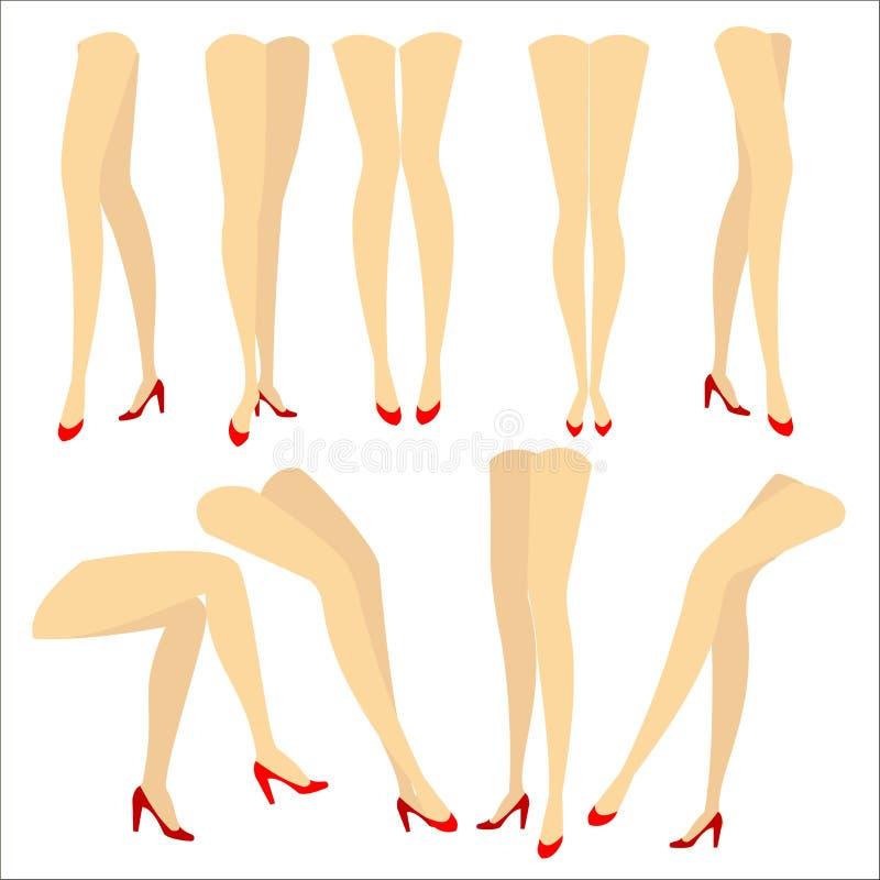 ansammlung Ein Bild mit Schattenbildern von schlanken sch?nen weiblichen Beinen in den roten St?ckelschuhen Verschiedene Lagen vo vektor abbildung