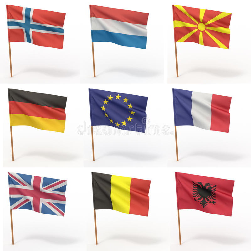 Ansammlung europäische Markierungsfahnen vektor abbildung