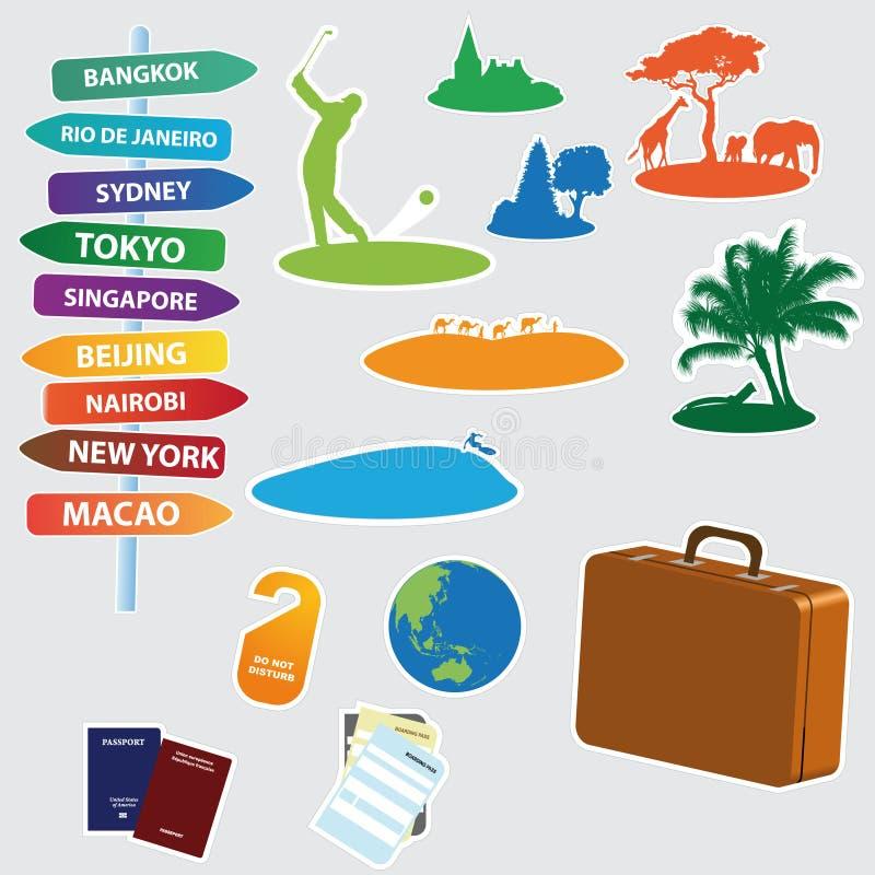 Ansammlung exotische Reiseikonen lizenzfreie abbildung