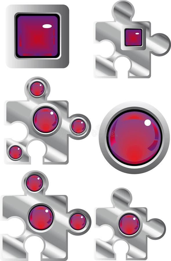 Ansammlung fantastische Puzzlespielweb-Tasten vektor abbildung