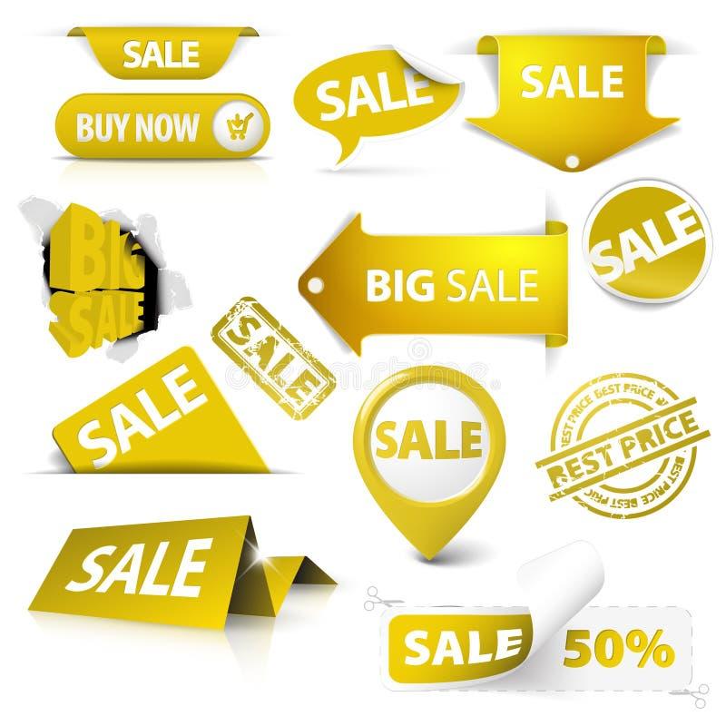 Ansammlung goldene gelbe Verkaufskarten, Stempel lizenzfreie abbildung