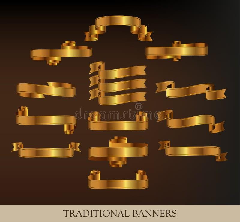 Ansammlung Goldfarbbänder lizenzfreie abbildung