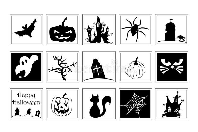 Ansammlung Halloween-Ikonen lizenzfreie abbildung