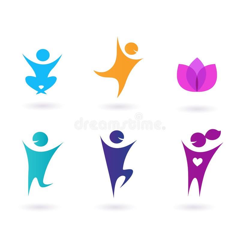 Ansammlung menschliche Ikonen - Yoga und Sport lizenzfreie abbildung