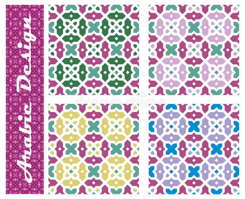 Ansammlung nahtlose arabische Blumenverzierungen stock abbildung