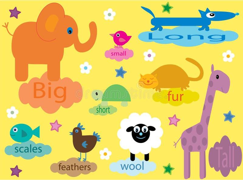 Ansammlung pädagogische Tiere für Kinder stock abbildung