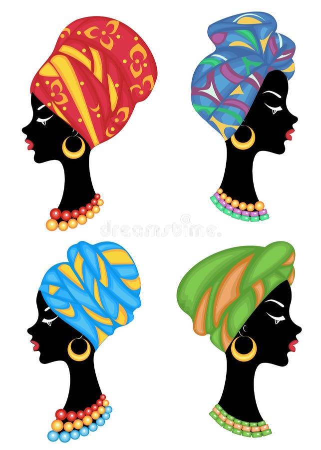 ansammlung Profil einer s??en Dame Auf dem Kopf eines afro-amerikanischen M?dchens ist ein gestrickter Schal, ein Turban Die Frau lizenzfreie abbildung