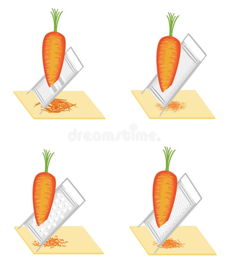 ansammlung Reife sch?ne Karotten Gemüse reibt zur Reibe Vorbereitung der geschmackvollen, gesunden Nahrung Set vektorabbildungen vektor abbildung