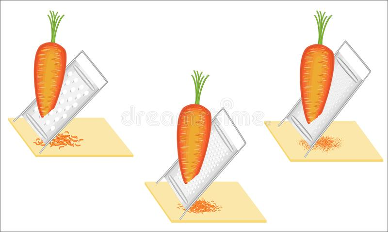 ansammlung Reife sch?ne Karotten Gittergem?se auf Reibe Vorbereitung der geschmackvollen, gesunden Nahrung Gl?nzendes und glattes lizenzfreie abbildung