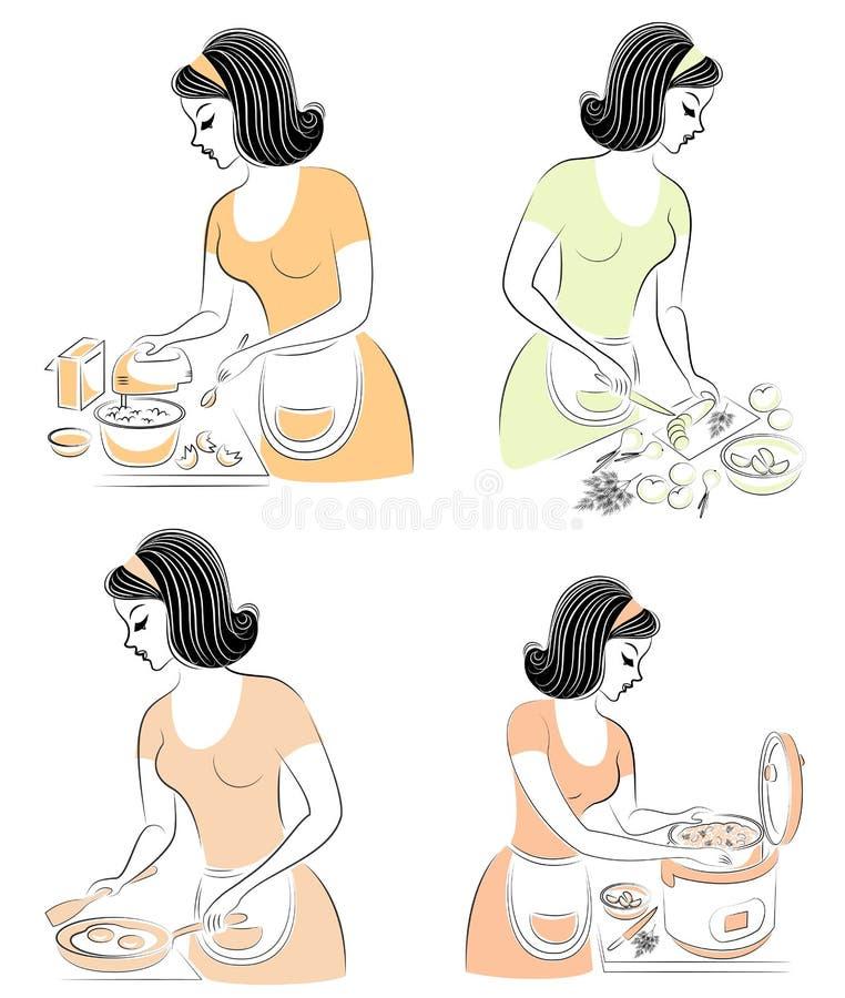 ansammlung Schönes Mädchen bereitet Nahrung in einem Multikocher, wischt einen Mischer, Schnittgemüse in einen Salat, braten ein  vektor abbildung