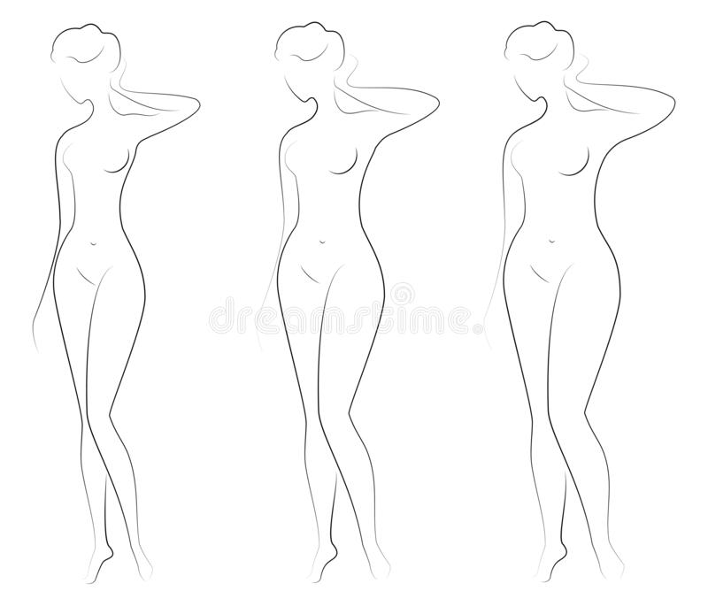 ansammlung Schattenbild einer Sch?nheitszahl Das M?dchen ist d?nn, schlank und die Frau ist fett Die Dame steht Satz von lizenzfreie abbildung