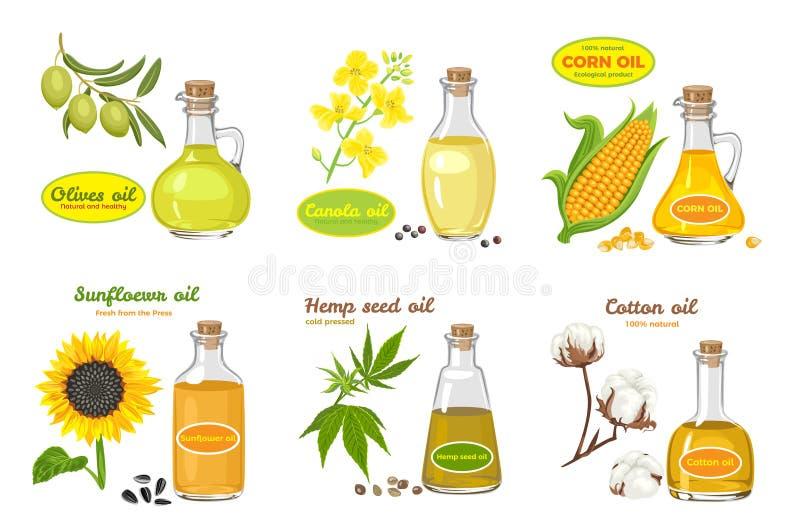 Ansammlung von auf weiß isolierten Saatölen Illustration im Flachstil Sonnenblumen, Oliven, Mais, Baumwolle, Hanf und Canolaöl in lizenzfreie abbildung