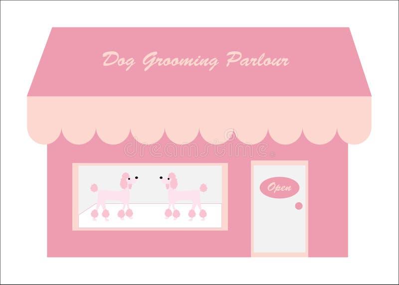 ansaparlouren för hund shoppar stock illustrationer