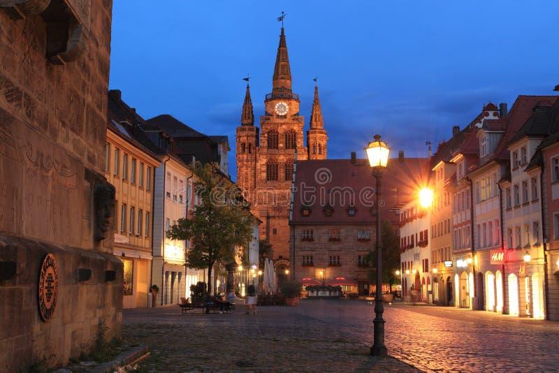 Ansbach la nuit photo libre de droits