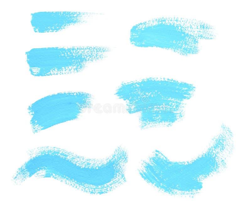 Anschläge des Türkisblaus malen lokalisiert auf weißem Hintergrund stockfotografie