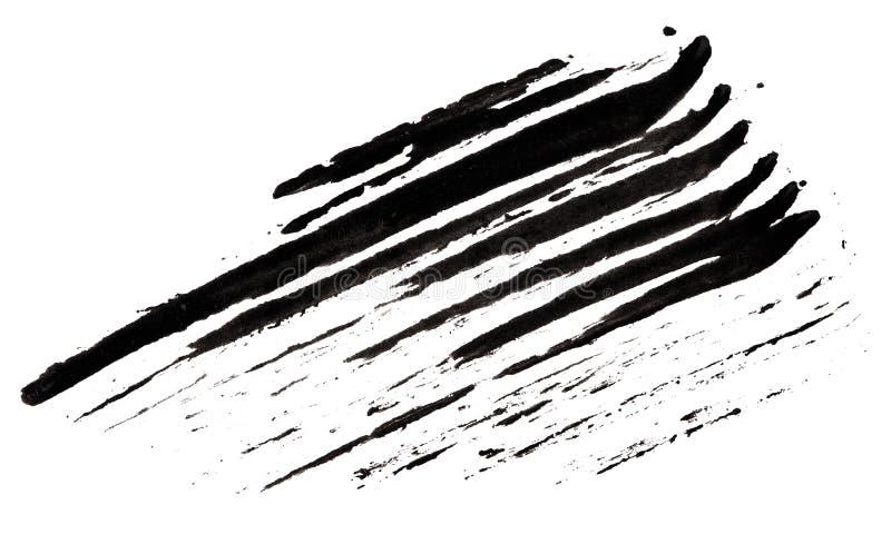Anschlag (Probe) der schwarzen Wimperntusche stock abbildung