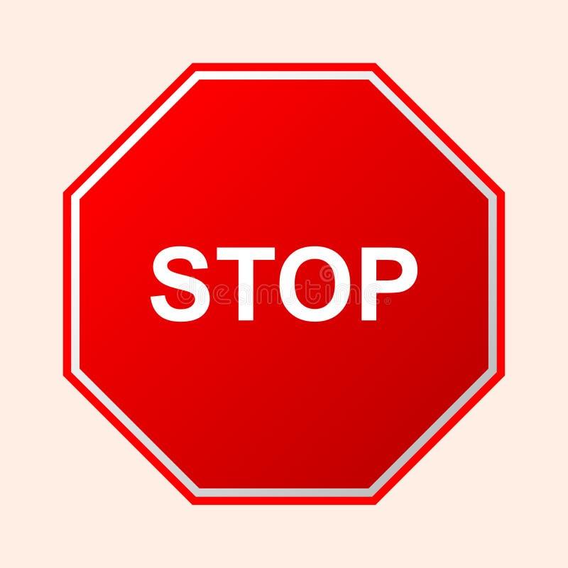 anschlag Rotes Verkehrsschildbrett mit Texthalt auf einem transparenten Hintergrund Ikone und Logo für Website und mobilen App vektor abbildung