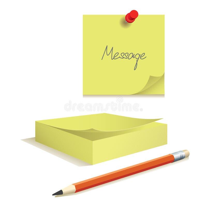 Anschlagbrett mit Papieranmerkungen lizenzfreie abbildung