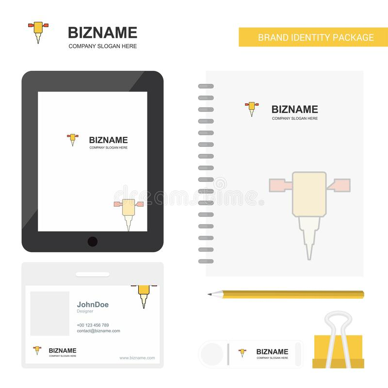 Anschlaghammer-Geschäfts-Logo, Tab App, Tagebuch PVC-Angestellt-Karte und USB-Marken-stationäre Verpackungsgestaltungs-Vektor-Sch vektor abbildung