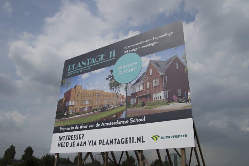 Anschlagtafel bei Plantage 11 bei Diemen die Niederlande lizenzfreie stockfotografie