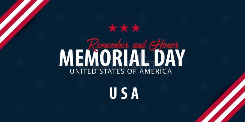 Anschlagtafel getrennt auf Weiß Erinnern Sie sich und ehren Sie USA Amerikanische Flagge vektor abbildung