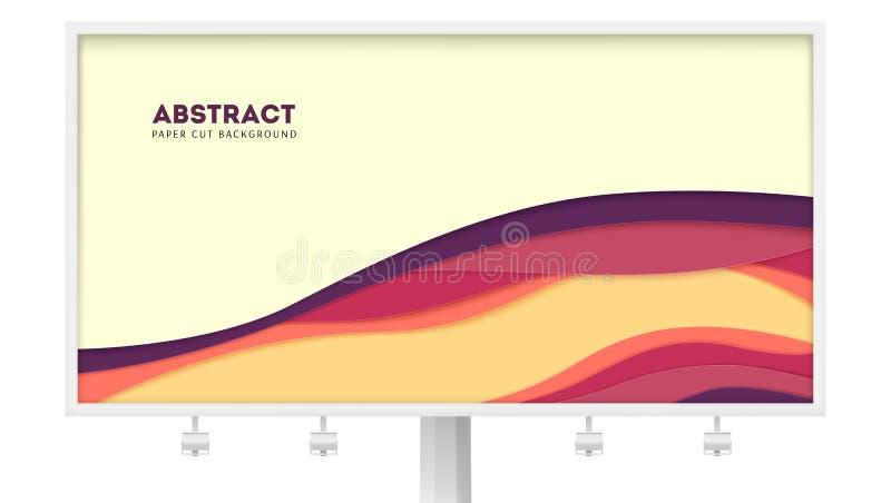 Anschlagtafel mit abstraktem Papierschnittdesign und multi Schichtformen Vektorplan mit herausgeschnittenen Papierformen Plakat m stock abbildung