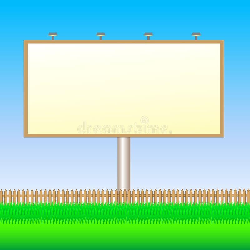 Anschlagtafel mit Zaun und Gras lizenzfreie abbildung