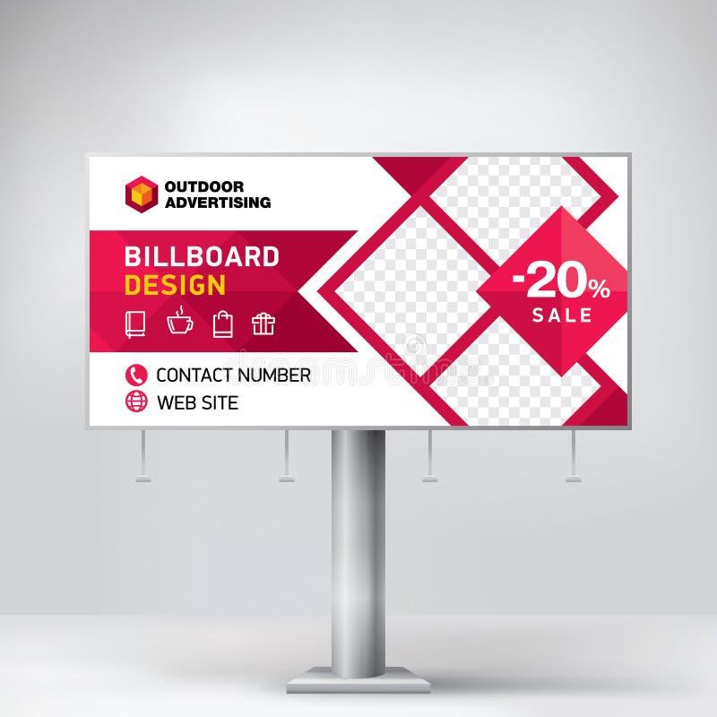 Anschlagtafeldesign, Schablone für Werbung im Freien, Aufgabenfotos und Text Modernes Geschäftskonzept Kreativer Hintergrund stockbilder