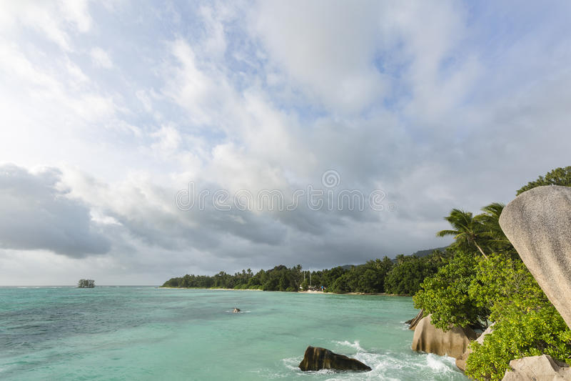 Anse来源D `银晚上,塞舌尔群岛 图库摄影