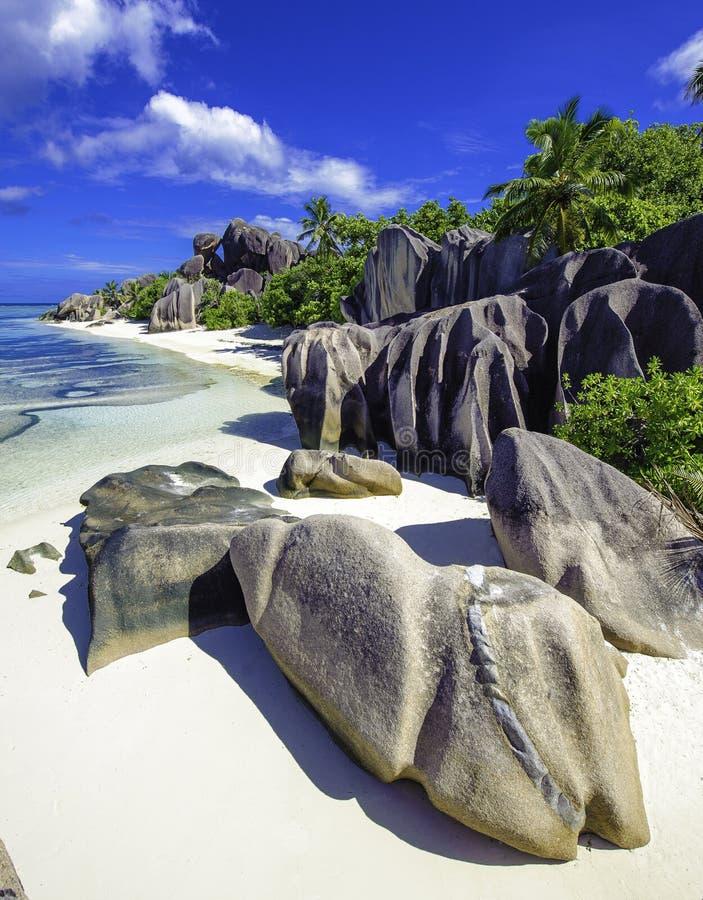 Anse来源d'argent海滩,塞舌尔群岛4 免版税库存照片