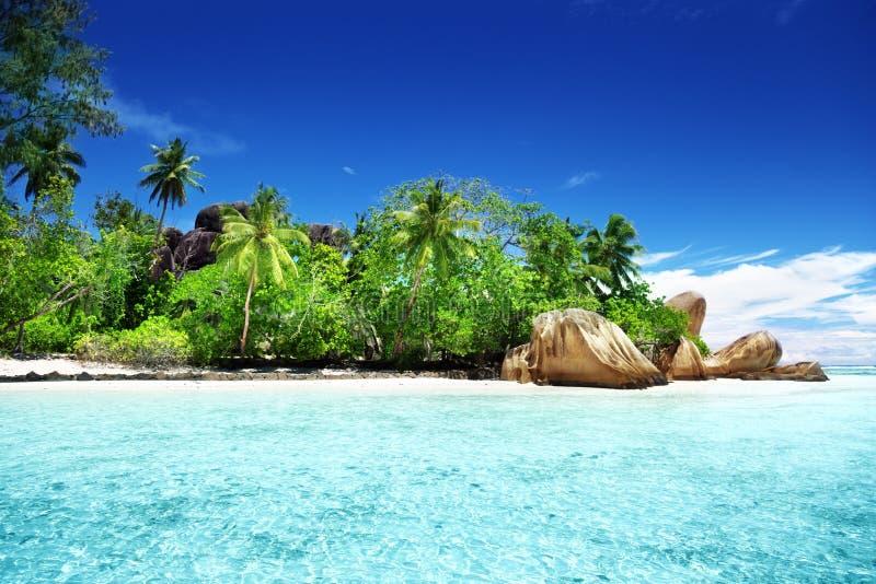 Anse来源d'Argent海滩, La Digue海岛 免版税图库摄影