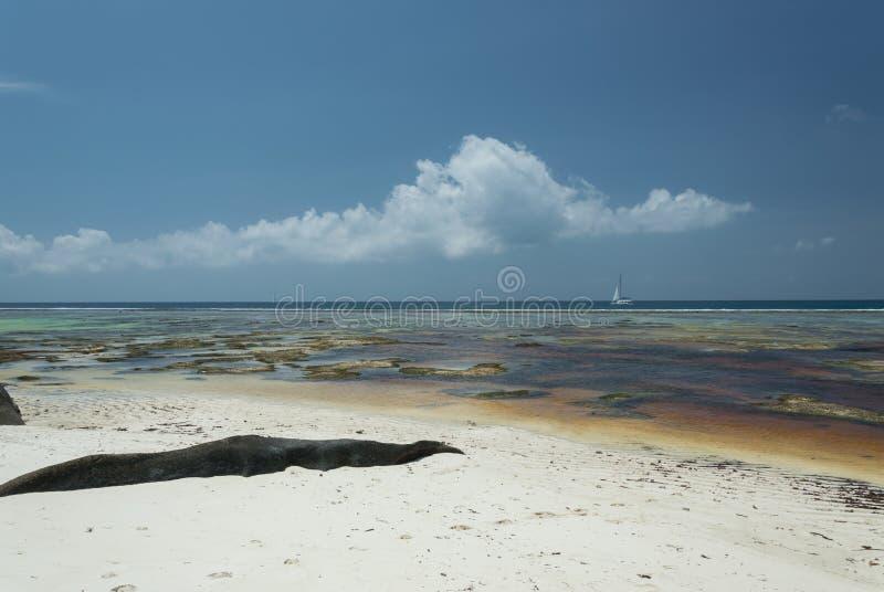 Anse银来源d的` -在热带海岛拉迪格岛上的美丽的海滩在塞舌尔群岛 库存图片