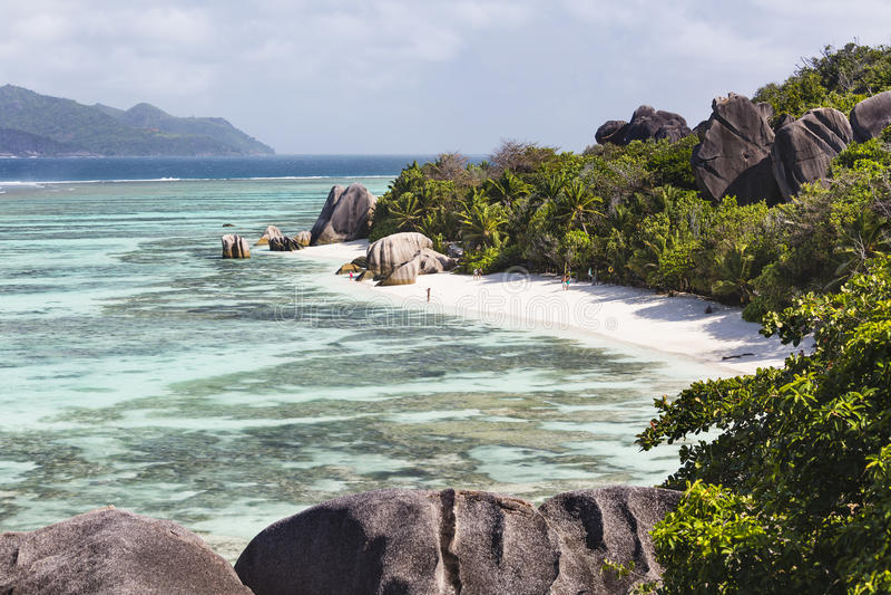 Anse银来源D的`,拉迪格岛,塞舌尔群岛 免版税图库摄影