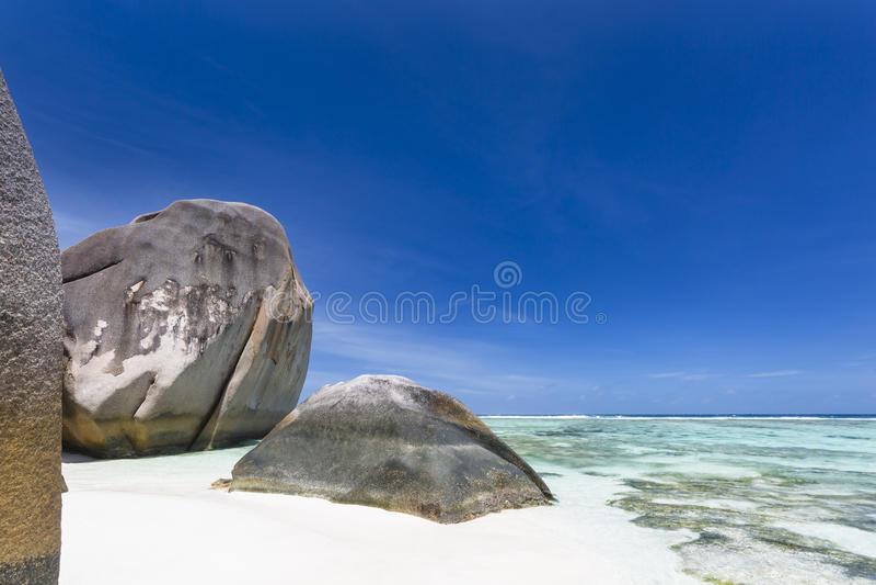 Anse银来源D的`,拉迪格岛,塞舌尔群岛 免版税库存图片