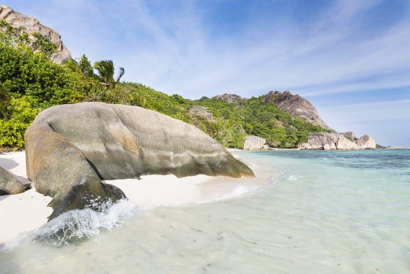 Anse银来源D的`,拉迪格岛,塞舌尔群岛 库存图片