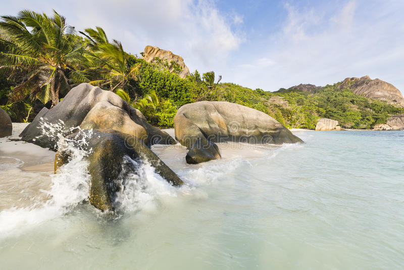 Anse银来源D的`,拉迪格岛,塞舌尔群岛 库存照片