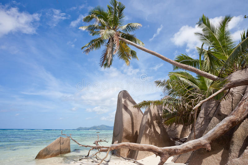 anse银d digue la塞舌尔群岛来源 图库摄影
