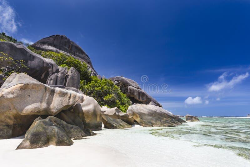 anse银d digue la塞舌尔群岛来源 免版税图库摄影