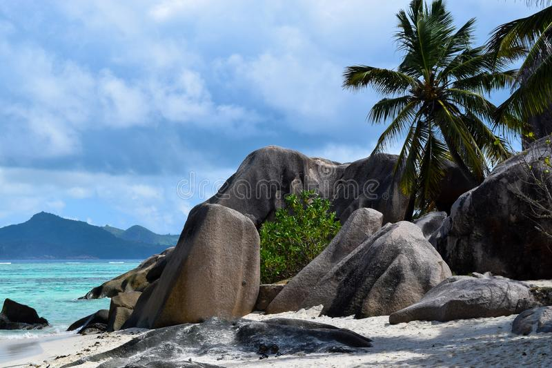 Anse źródła d ` Argent plaża w Seychelles, losu angeles Digue wyspa fotografia stock