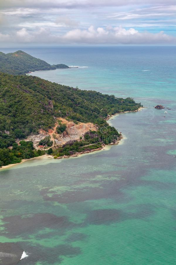 Anse Citron, Praslin. Aerial view of the Anse Citron on Praslin, Seychelles in the Indian Ocean royalty free stock photography