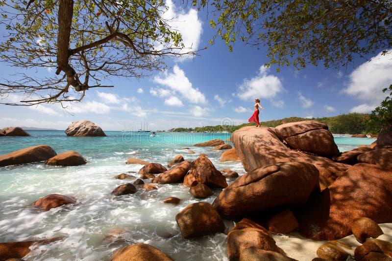 Anse Lazio, isla de Praslin. imágenes de archivo libres de regalías